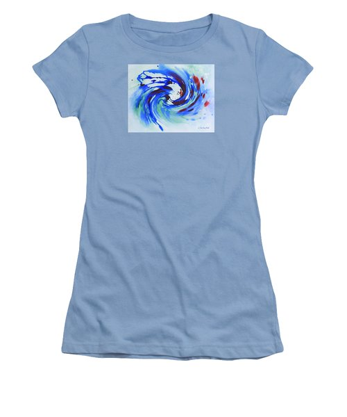Ocean Wave Watercolor Women's T-Shirt (Athletic Fit)