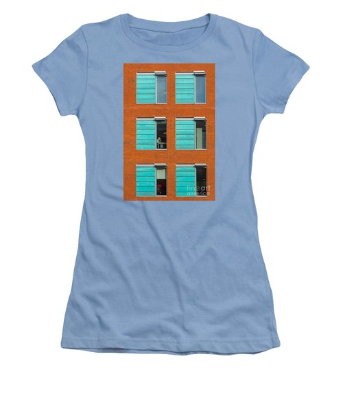Office Windows Women's T-Shirt (Junior Cut) by Colin Rayner