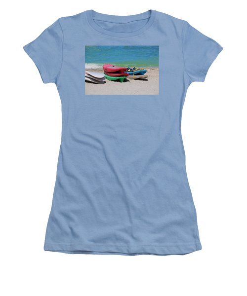 Women's T-Shirt (Athletic Fit) featuring the photograph Oh The Beach Life by Michiale Schneider