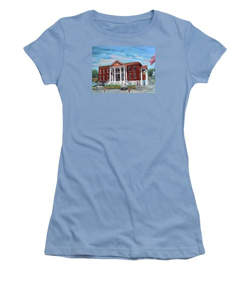 Women's T-Shirt (Athletic Fit) featuring the painting Old Courthouse In Ellijay Ga - Gilmer County Courthouse by Jan Dappen
