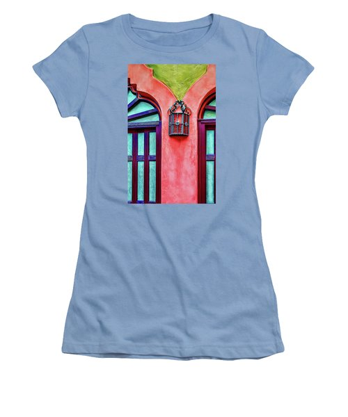 Women's T-Shirt (Athletic Fit) featuring the photograph Old Lamp Between Windows by Gary Slawsky