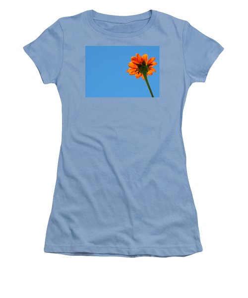 Orange Flower On Blue Sky Women's T-Shirt (Athletic Fit)