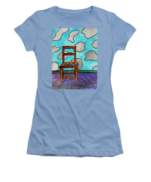 Women's T-Shirt (Junior Cut) featuring the painting Oranges On A Blue Plate by John Williams