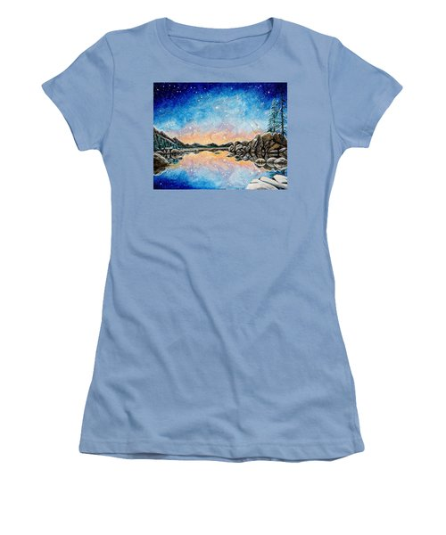 Orion Over Tahoe Winter Women's T-Shirt (Junior Cut) by Matt Konar