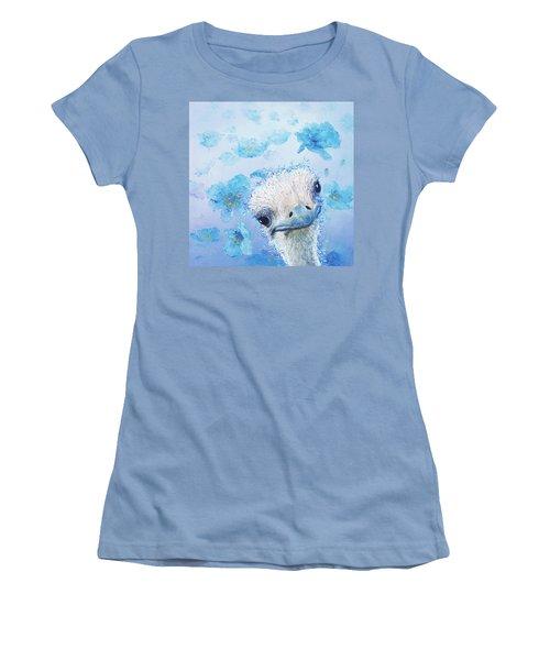 Ostrich In A Field Of Poppies Women's T-Shirt (Junior Cut) by Jan Matson