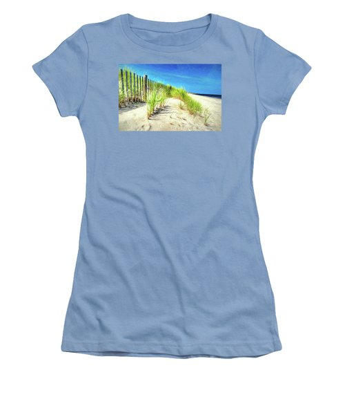 Women's T-Shirt (Athletic Fit) featuring the photograph Painterly  Waterfront Dune Grass by Gary Slawsky