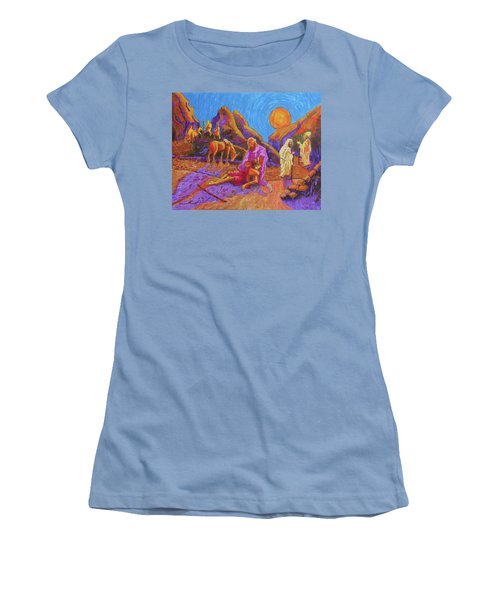 Women's T-Shirt (Junior Cut) featuring the painting Parables Of Jesus Parable Of The Good Samaritan Painting Bertram Poole by Thomas Bertram POOLE