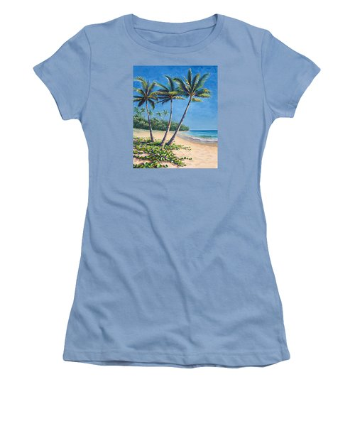 Women's T-Shirt (Junior Cut) featuring the painting Tropical Paradise Landscape - Hawaii Beach And Palms Painting by Karen Whitworth