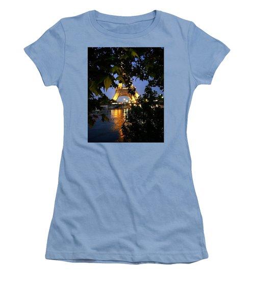 Paris By Night Women's T-Shirt (Junior Cut) by Nancy Ann Healy