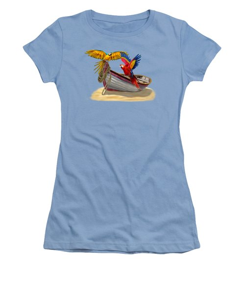 Parrots Of The Caribbean Women's T-Shirt (Junior Cut) by Glenn Holbrook