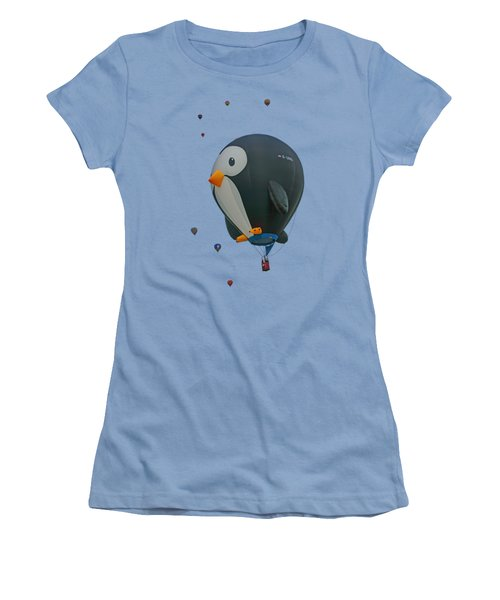 Penguin - Hot Air Balloon - Transparent Women's T-Shirt (Junior Cut) by Nikolyn McDonald