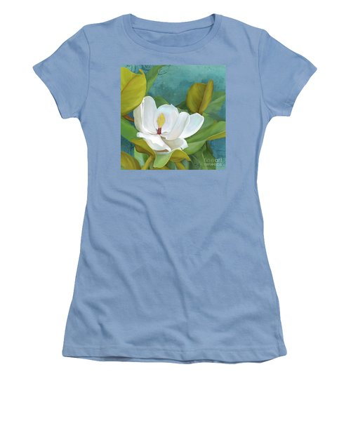 Women's T-Shirt (Athletic Fit) featuring the painting Perfection - Magnolia Blossom Floral by Audrey Jeanne Roberts