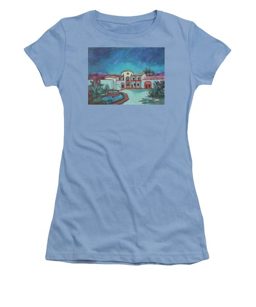 Women's T-Shirt (Junior Cut) featuring the painting Perseids Meteor Shower From La Quinta Museum by Diane McClary