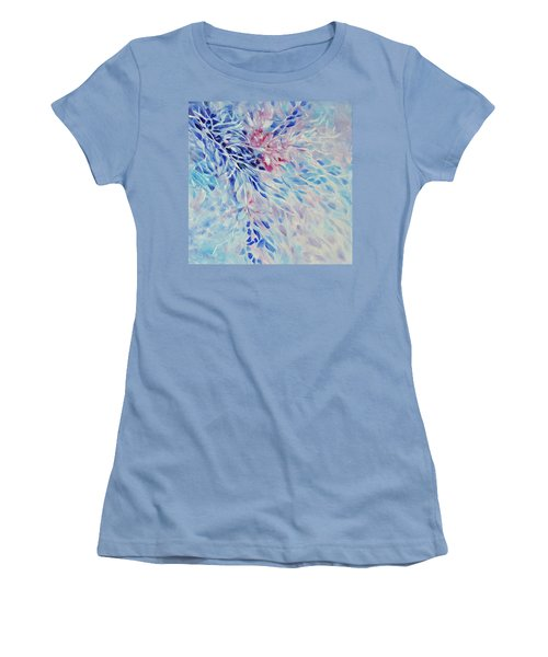 Women's T-Shirt (Junior Cut) featuring the painting Petals And Ice by Joanne Smoley