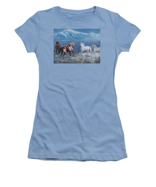 Women's T-Shirt (Junior Cut) featuring the painting Phantom Of The Mountains by Karen Chatham