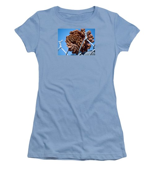 Pine Cone On The Fence Women's T-Shirt (Junior Cut) by Cathy Jourdan