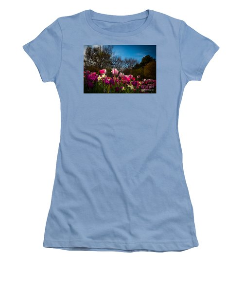 Pink And Purple Tulips Women's T-Shirt (Junior Cut) by John Roberts