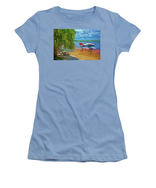 Women's T-Shirt (Athletic Fit) featuring the photograph Plane On The Lake by Lewis Mann