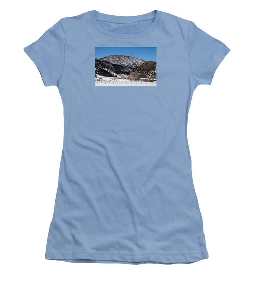 Pretty Red Barns From The Highway Between Aspen And Snowmass Women's T-Shirt (Athletic Fit)