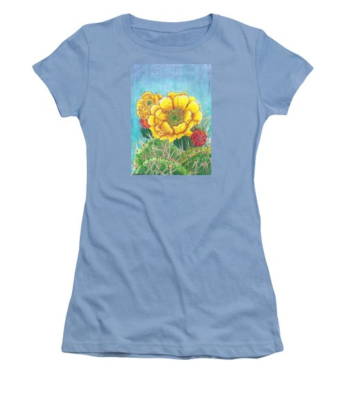 Women's T-Shirt (Junior Cut) featuring the drawing Prickly Pear Cactus Flowering by Dawn Senior-Trask
