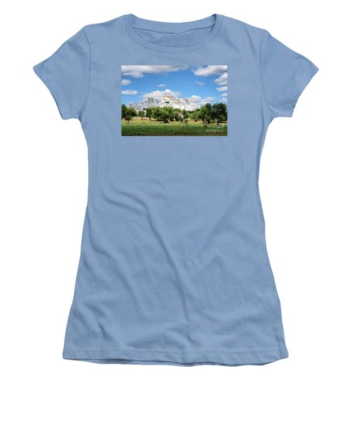 Puglia White City Ostuni With Olive Trees Women's T-Shirt (Athletic Fit)