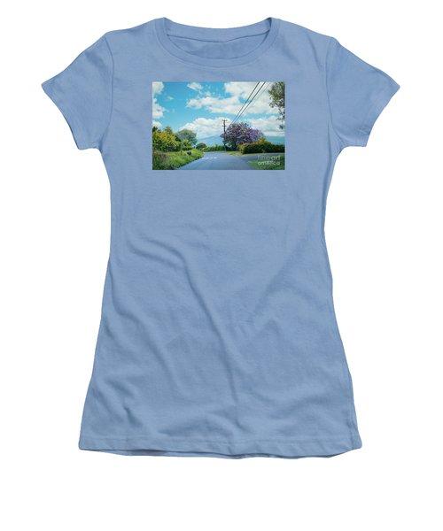 Pulehuiki Road Upcountry Kula Maui Hawaii Women's T-Shirt (Junior Cut) by Sharon Mau