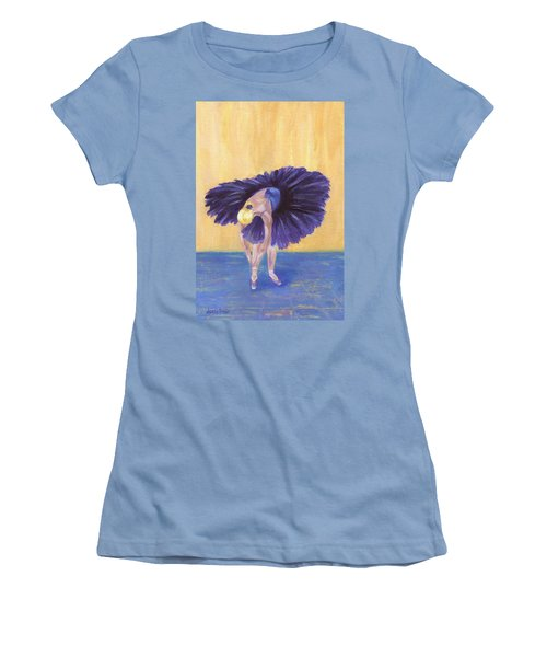 Women's T-Shirt (Athletic Fit) featuring the painting Purple Ballerina by Jamie Frier