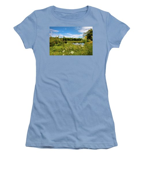 Women's T-Shirt (Athletic Fit) featuring the photograph Queen Anne's Lace On The Moose River by David Patterson