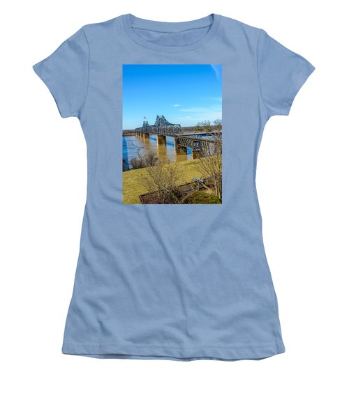 Women's T-Shirt (Junior Cut) featuring the photograph Rail Road Bridge by Jerry Cahill