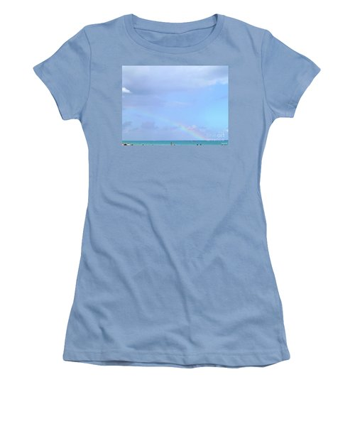 Women's T-Shirt (Athletic Fit) featuring the digital art Rainbow At The Beach 1 by Francesca Mackenney