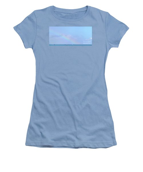 Women's T-Shirt (Athletic Fit) featuring the digital art Rainbow At The Beach 2 by Francesca Mackenney