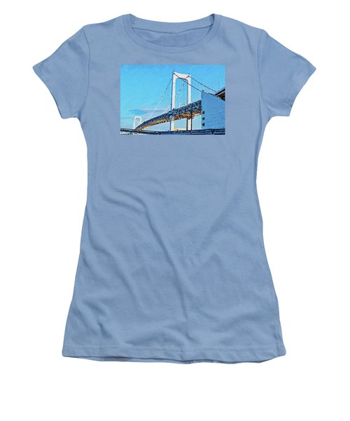 Women's T-Shirt (Athletic Fit) featuring the painting Rainbow Bridge In Tokyo by PixBreak Art