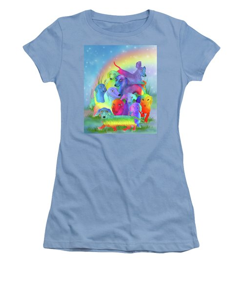 Women's T-Shirt (Athletic Fit) featuring the mixed media Rainbow Doxies 1 by Carol Cavalaris