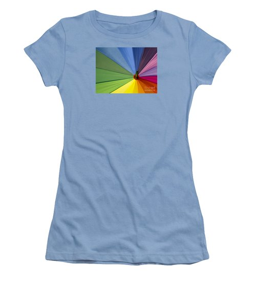 Women's T-Shirt (Junior Cut) featuring the photograph Rainbow Umbrella by Inge Riis McDonald