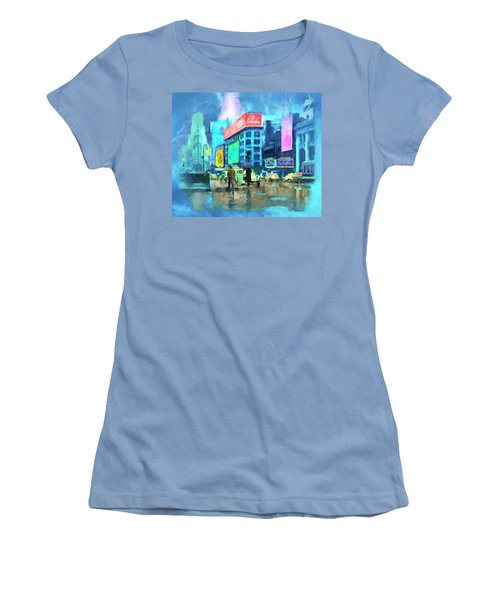 Women's T-Shirt (Junior Cut) featuring the painting Rainy Night In New York by Michael Cleere