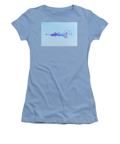 Women's T-Shirt (Athletic Fit) featuring the photograph Red Arrows Break by Gary Eason