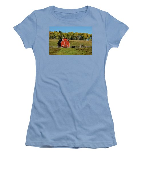 Red Barn On The Hill Women's T-Shirt (Athletic Fit)