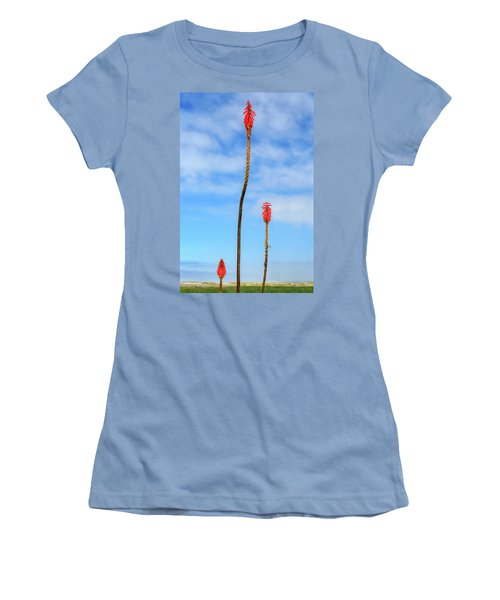 Women's T-Shirt (Athletic Fit) featuring the photograph Red Hot Pokers by James Eddy