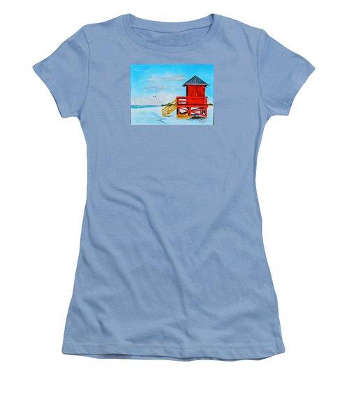 Red Life Guard Shack On The Key Women's T-Shirt (Junior Cut) by Lloyd Dobson