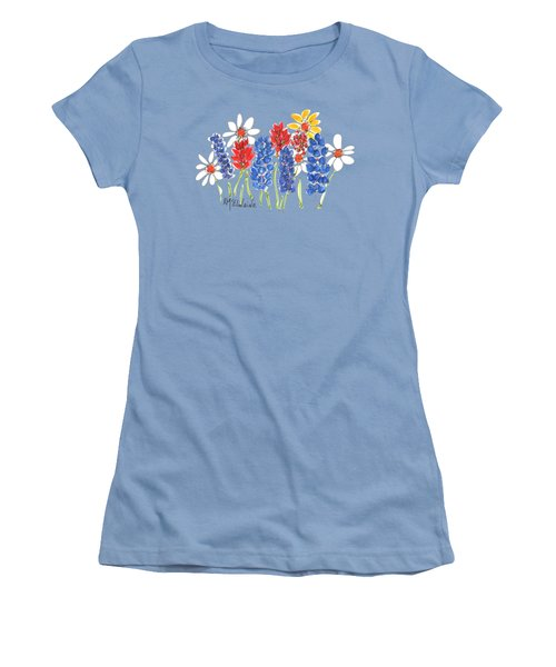 Red White And Blue Garden By Kmcelwaine Women's T-Shirt (Athletic Fit)