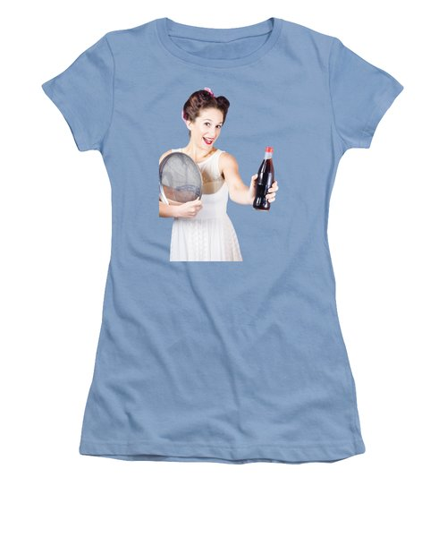 Retro Pin-up Girl Giving Bottle Of Soft Drink Women's T-Shirt (Junior Cut) by Jorgo Photography - Wall Art Gallery