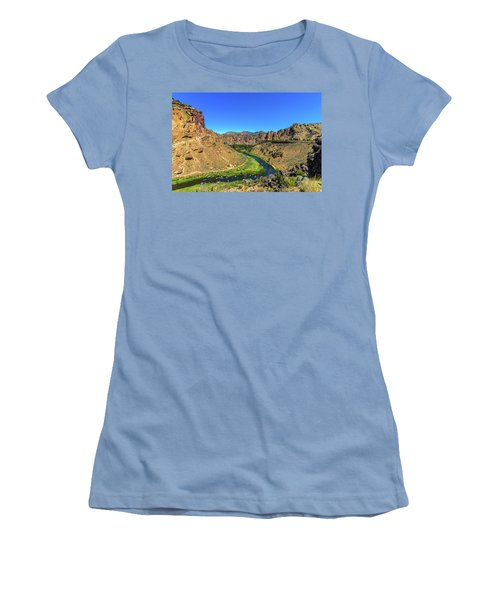 Women's T-Shirt (Athletic Fit) featuring the photograph River Through Mountains by Jonny D