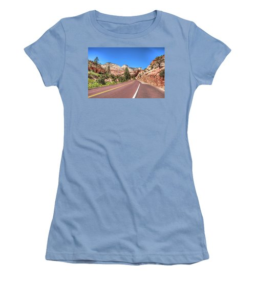 Women's T-Shirt (Junior Cut) featuring the photograph Road To Zion by Brent Durken