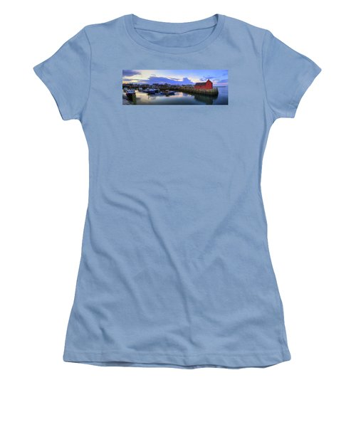 Women's T-Shirt (Junior Cut) featuring the photograph Rockport Harbor Sunset Panoramic With Motif No1 by Joann Vitali