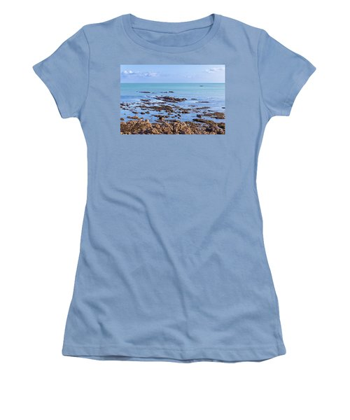 Rocks And Seaweed And Seagulls In The Irish Sea At Howth Women's T-Shirt (Junior Cut) by Semmick Photo
