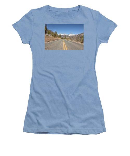 Rocky Mountain Road Heading Towards Estes Park, Co Women's T-Shirt (Junior Cut) by Peter Ciro