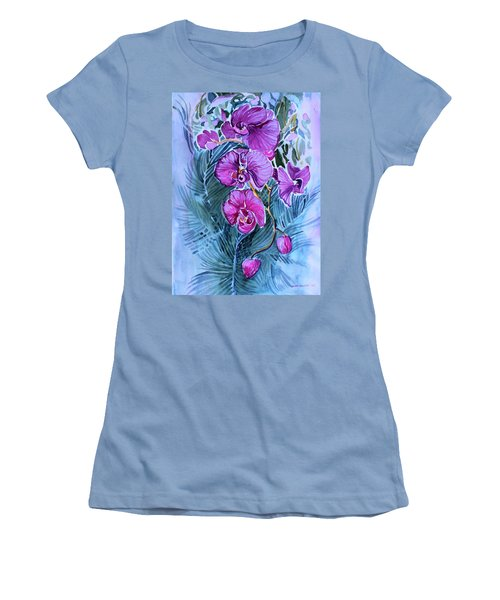 Women's T-Shirt (Junior Cut) featuring the painting Rose Orchids by Mindy Newman