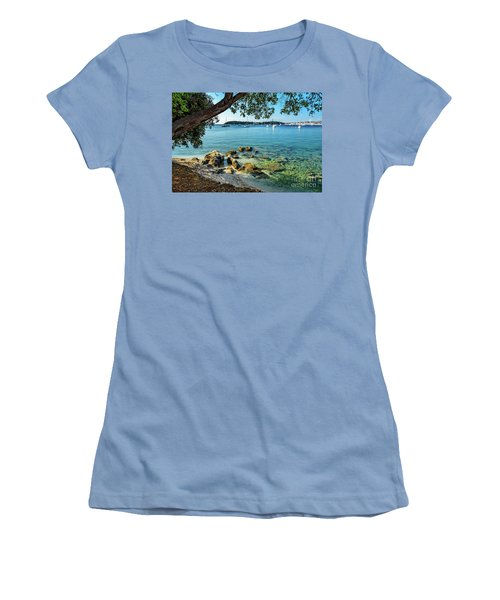 Rovinj Old Town, Harbor And Sailboats Accross The Adriatic Through The Trees Women's T-Shirt (Athletic Fit)