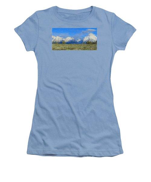 Rustic Grand Teton Range On Wood Women's T-Shirt (Junior Cut) by Dan Sproul
