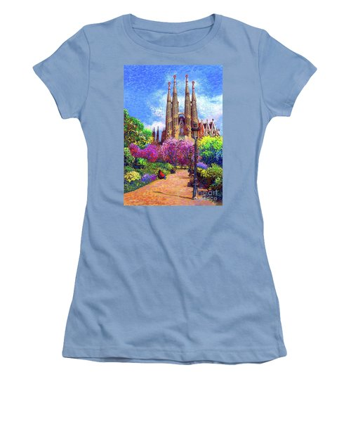 Sagrada Familia And Park Barcelona Women's T-Shirt (Athletic Fit)